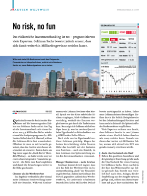 Aktienreports - Goldman Sachs: No risk, no fun